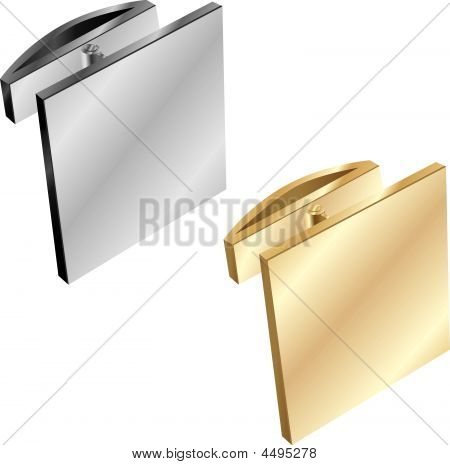 Isolated Gold And Silver Cuff Links