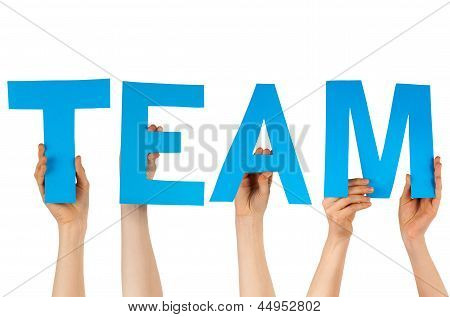 Hands Holding Blue Letters Building Team