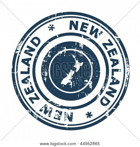 New Zealand passport stamp isolated on a white background.