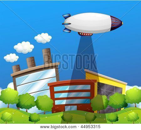 Abbildung eines Flugzeugs über die Hochhäuser