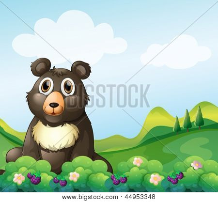 Illustration of a big bear sitting in the garden