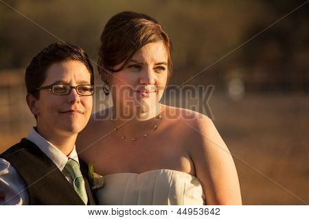 Grinning Lesbian Newlyweds