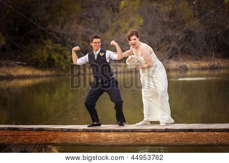 Same Sex Couple Having Fun At Lake
