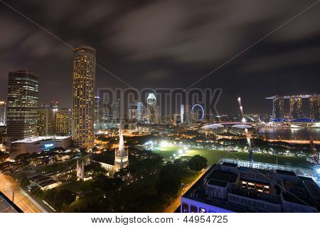 Aerial view of Singapore Marina Bay area with its financial and tourism district