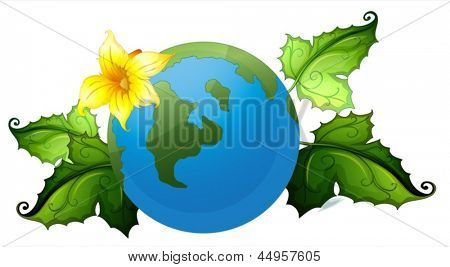 Illustration of a globe with plants border on a white background