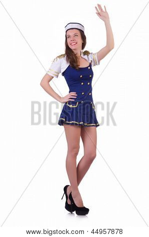 Woman airhostess isolated on the white