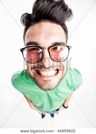 Funny Handsome Man With Hipster Glasses Smiling  - Wide Angle Shot