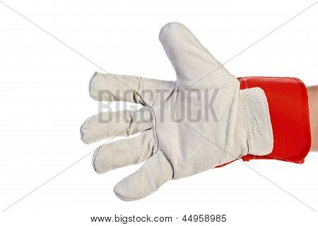 Worker's Hand Wearing Leather Work Glove