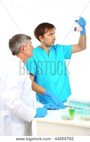 Physician and assayer during research isolated on white