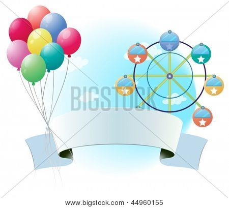 Illustration of an empty signage with balloons and a ferris wheel on a white background