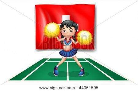 Illustration of a cheerleader dancing in front of the Switzerland flag on a white background