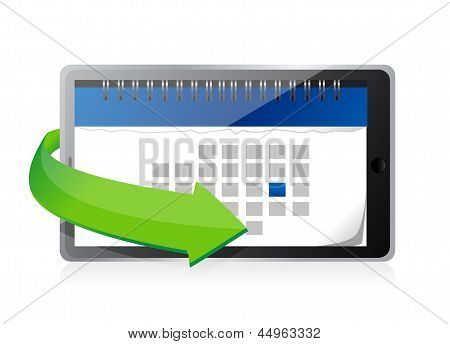 Tablet With A Calendar On Screen Illustration