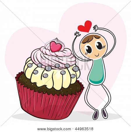 Illustration of a cupcake and a sketch of a man with a red heart on a white background