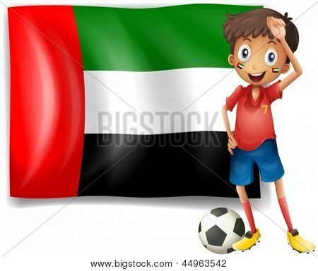 Illustration of the UAE flag and the male athlete on a white background