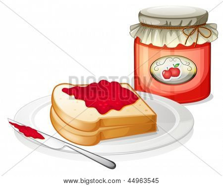 Illustration of an apple jam with a sandwich in the plate on a white background