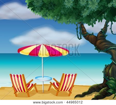 Illustration of the two chairs with umbrella at the beach