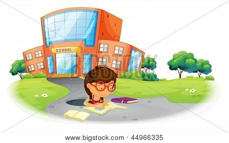 Illustration of a girl writing in the hole near the school on a white background