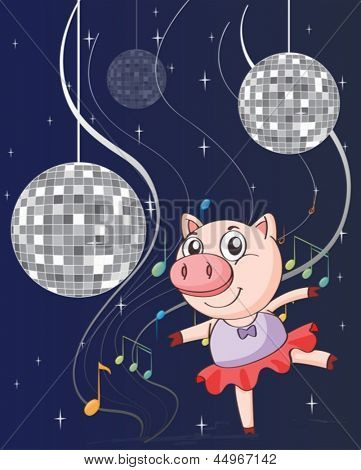 Illustration of a pig dancing with disco lights
