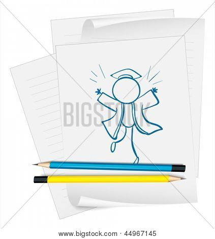 Illustration of a paper with a sketch of a graduate on a white background