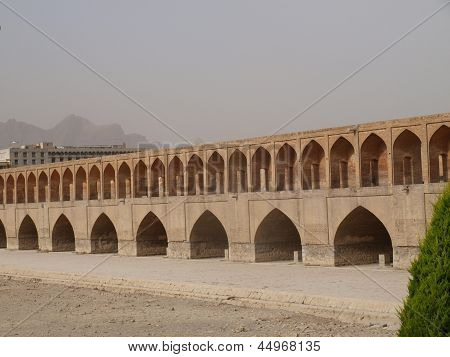 33 Pol Allah Verdi Khan Bridge In Isfahan, Iran In The Morning