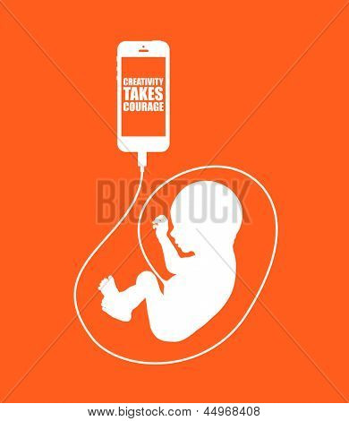 Creativity takes courage. Minimal illustration with smartphone and baby connected through cord