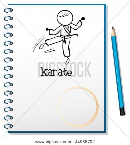 Illustration of a notebook with a sketch of a karate athlete on a white background