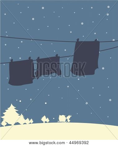 Illustration of a shadow of hanging clothes in a winter season