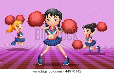 Illustration of the energetic cheerdancers with red pompoms