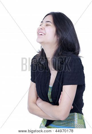 Young Biracial Teen Girl Laughing, Head Back And Eyes Closed