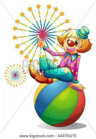 Illustration of a clown above the inflatable ball on a white background