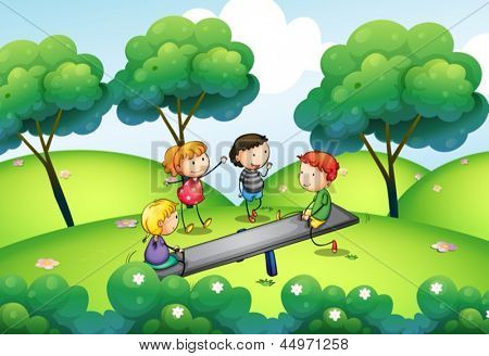 Illustration of a group of kids playing at the top of the hill