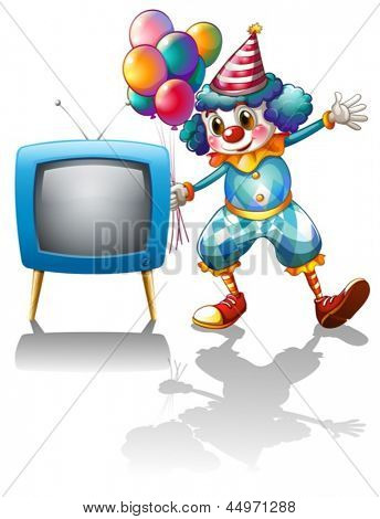 Illustration of a clown with balloons near the T.V. on a white background