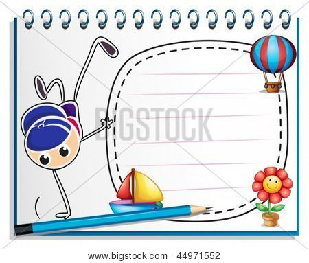 Illustration of a notebook with a sketch of a young man breakdancing on a white background