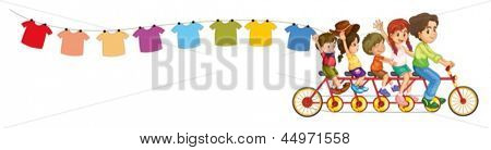Illustration of a bike with kids and the hanging clothes on a white background