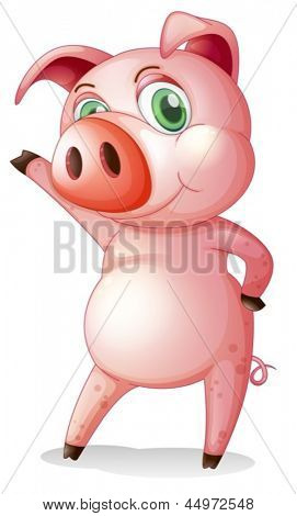 Illustration of a pig dancing on a white background