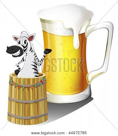 Illustration of a zebra inside a wooden container with a glass of beer at the back on a white background