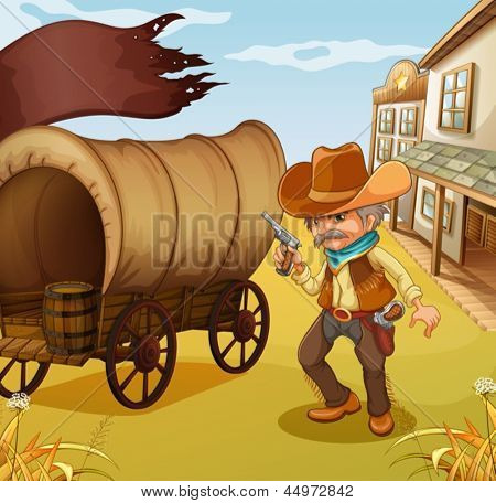 Illustration of a Mexican man holding a gun beside a wagon
