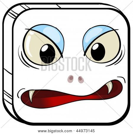 Illustration of a square face of a vampire on a white background