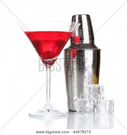 Cocktail shaker and cocktail isolated on white