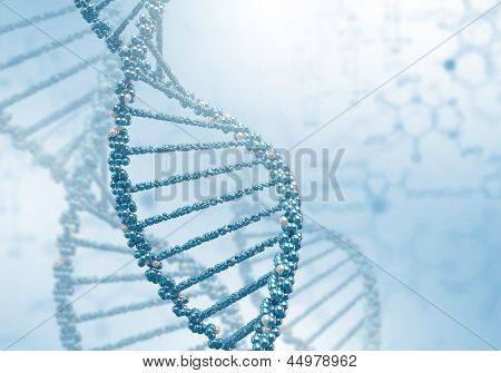 Digital illustration of dna structure on colour background