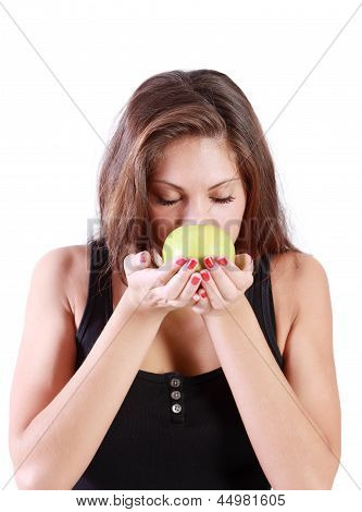 Beautiful Brunette Girl With Closed Eyes Sniffs Green Apple Isolated On White Background.