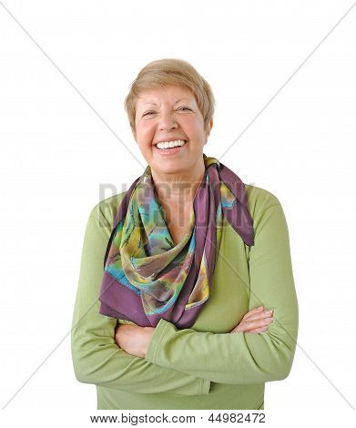 Smiling Woman In Green Isolated On White Background