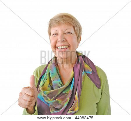 Smiling Woman In Green Showing Thumb Up Isolated On White Background
