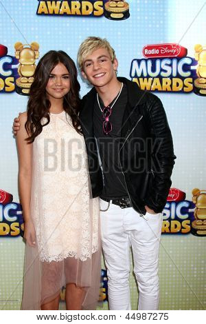 LOS ANGELES - APR 27:  Maia Mitchell, Ross Lynch arrives at the Radio Disney Music Awards 2013 at the Nokia Theater on April 27, 2013 in Los Angeles, CA