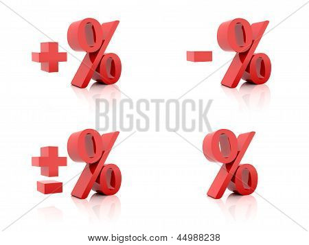 Set of 3D Percent. Plus minus. Red on white background.