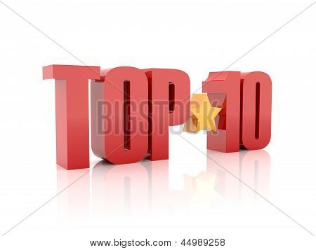 Top ten red word isolated on white background.