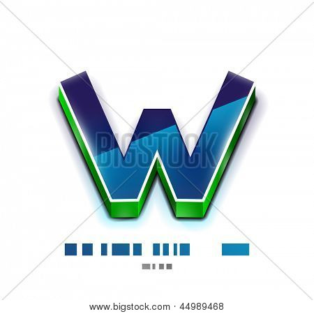 3d vector W letter. Technology business symbol. Glossy style