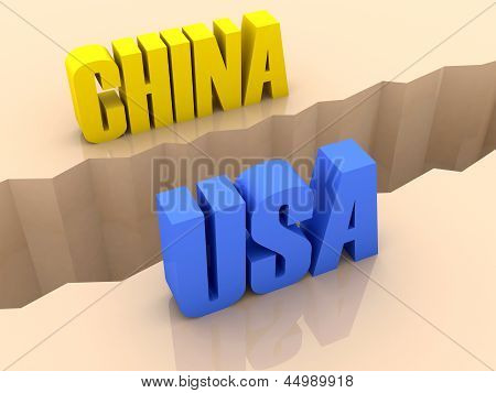 Two countries CHINA and USA split on sides separation crack.