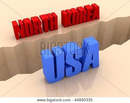 Two countries NORTH KOREA and USA split on sides separation crack.