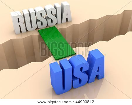 Two words RUSSIA and USA united by bridge through separation crack.